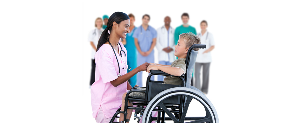 young woman medical staff with child in wheelchair